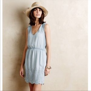 Anthropologie Embroidered Chambray Dress